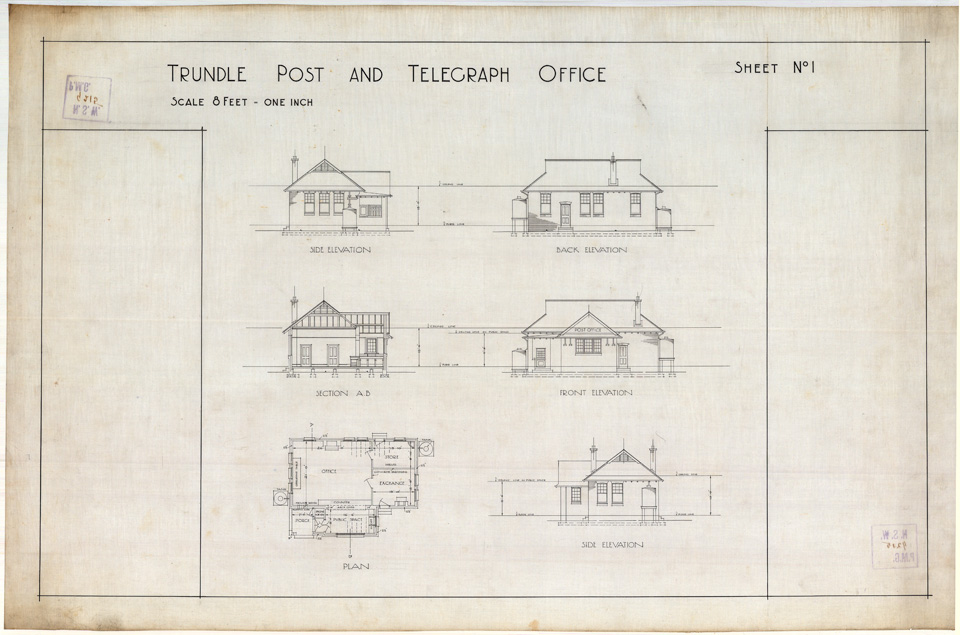 Original plans for the Trundle Post Office