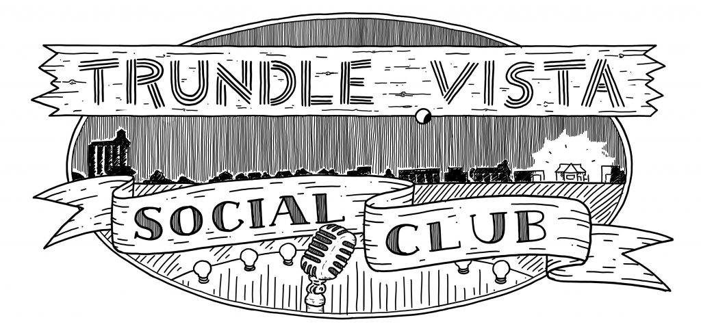 Trundle Vista Social Club logo. Hand drawing in oval shape with silhouette of the town including the grain silos, festival lights and old fashioned microphone.